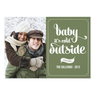 Green Baby It's Cold Outside Holiday Photo Card