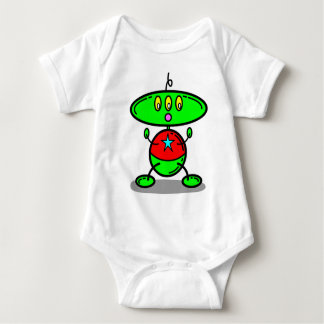 Green Baby Kids Robot Yellow Eyes T-Shirt