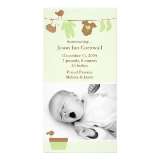 Green Baby Laundry Birth Announcement Photo Card Template