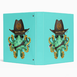 Green Baby Octopus Zombie Hunter 3 Ring Binder