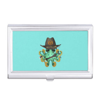 Green Baby Octopus Zombie Hunter Business Card Holder