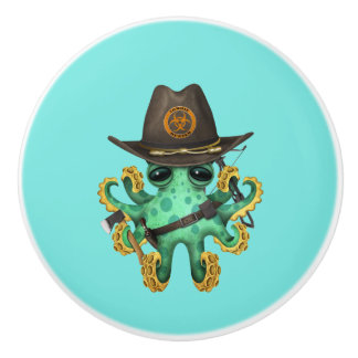 Green Baby Octopus Zombie Hunter Ceramic Knob