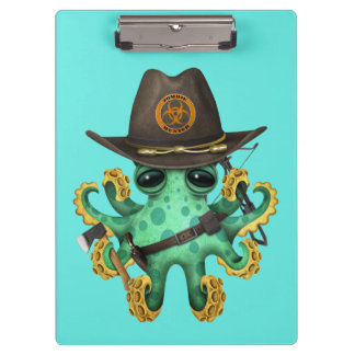 Green Baby Octopus Zombie Hunter Clipboard