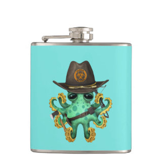 Green Baby Octopus Zombie Hunter Hip Flask