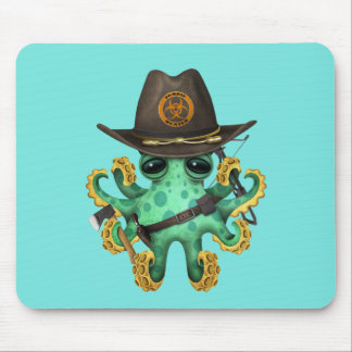 Green Baby Octopus Zombie Hunter Mouse Pad