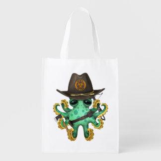 Green Baby Octopus Zombie Hunter Reusable Grocery Bag