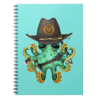 Green Baby Octopus Zombie Hunter Spiral Notebook