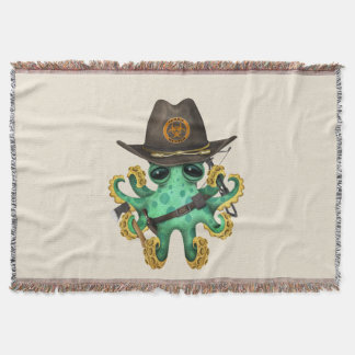 Green Baby Octopus Zombie Hunter Throw Blanket