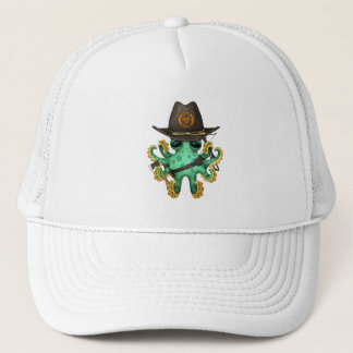 Green Baby Octopus Zombie Hunter Trucker Hat