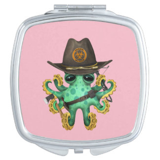 Green Baby Octopus Zombie Hunter Vanity Mirror