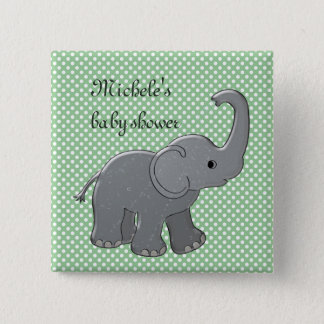 green baby shower elephant 2 inch square button