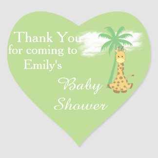 Green baby shower giraffe thank you stickers