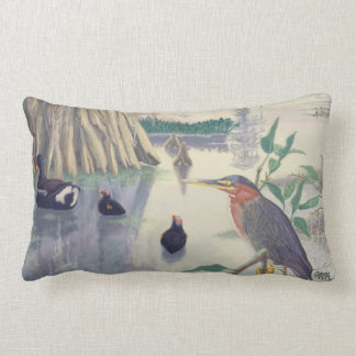Green-Backed Heron And Cypress Trees Lumbar Pillow