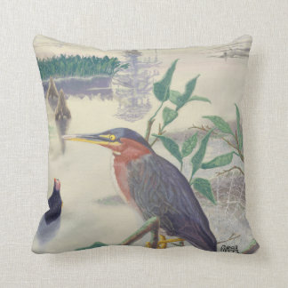 Green-Backed Heron And Cypress Trees Square Pillow