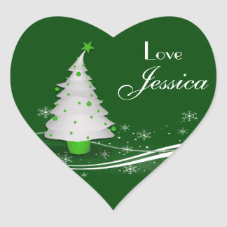 Green Background & White Christmas Tree Gift Tag Heart Sticker