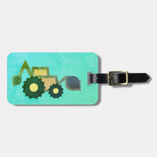 Green backhoe, cute, minimalist, flat design luggage tag