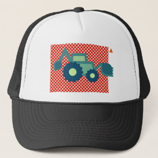 Green backhoe, cute, minimalist, flat design trucker hat