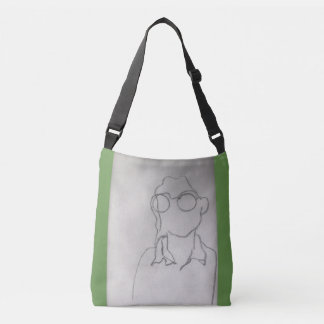 Green bag with black and white portrait