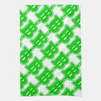 GREEN BAHT SIGN ฿ Thai Money Currency ฿ Hand Towels
