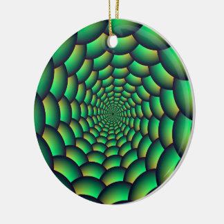 Green Ball Spiral Tunnel Round Ceramic Ornament