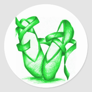 Green Ballet Slippers Classic Round Sticker