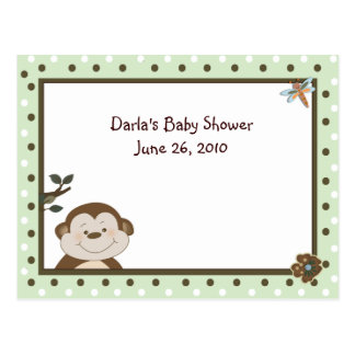 Green Bambino Monkey Baby Shower Advice Cards Postcard