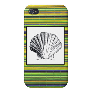 Green Bamboo and Clam Seashell iPhone 4 Case