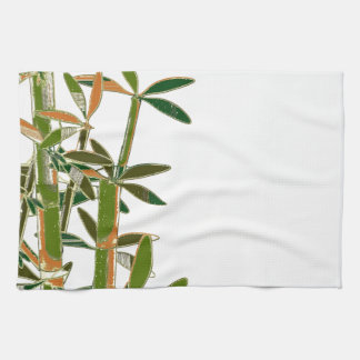 Green bamboo  isolated on white background kitchen towels