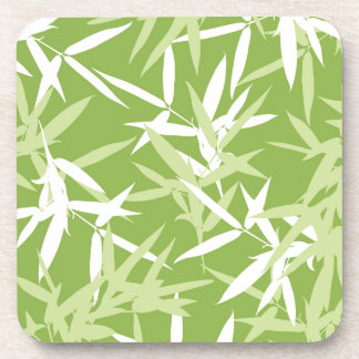 Green Bamboo Leaves Unique Pattern Coaster