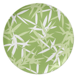 Green Bamboo Leaves Unique Pattern Party Plates