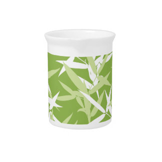 Green Bamboo Leaves Unique Pattern Pitcher