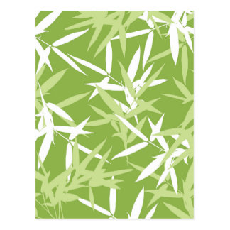 Green Bamboo Leaves Unique Pattern Postcard