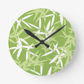 Green Bamboo Leaves Unique Pattern Round Clock