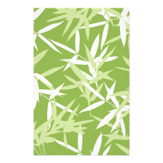 Green Bamboo Leaves Unique Pattern Stationery