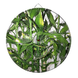 Green bamboo shoots and leaves dartboard