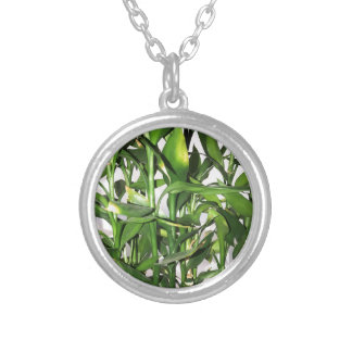 Green bamboo shoots and leaves silver plated necklace