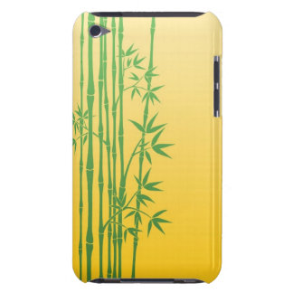 Green Bamboo Sticks with Leaves on Yellow iPod Case-Mate Cases