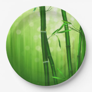 Green Bamboo With Pale Bokeh Lights In The Back 9 Inch Paper Plate