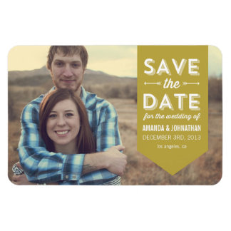 Green Banner Photo Save The Date Magnet