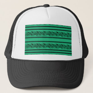 Green barbwire trucker hat
