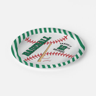 Green Baseball Birthday Design | Personalize Paper Plate