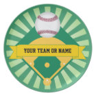 Green Baseball Field with Custom Team Name Plate