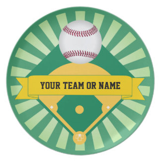 Green Baseball Field with Custom Team Name Plate