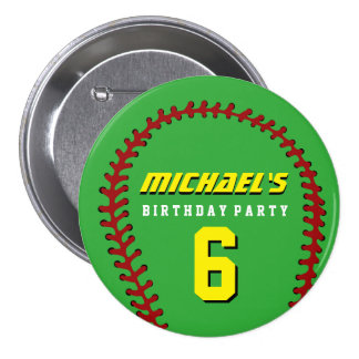 Green Baseball Sports Kids Birthday Party Button
