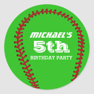 Green Baseball Sticker for Sports Birthday Party