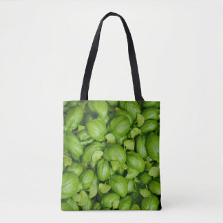Green basil leaves tote bag