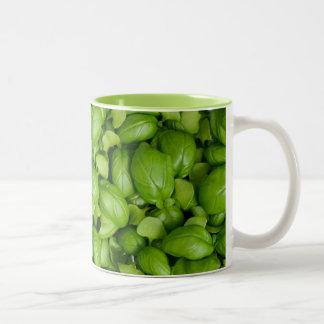 Green basil leaves Two-Tone coffee mug