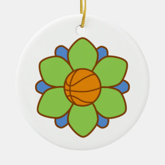 Green Basketball Girl Round Ceramic Ornament