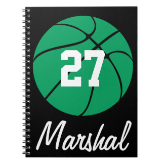 Green Basketball Player Name & Number Customizable Notebook
