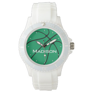 Green Basketball Women's Player or Team Name White Watch